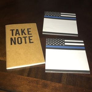Notebook and 2 thin blue line sticky notes